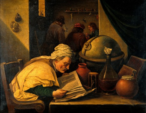 An alchemist in his laboratory. Oil painting by a follower of D.Teniers Younger